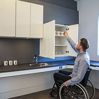 handicap accessible kitchen, accessible kitchen cabinets, kitchen for wheelchair users
